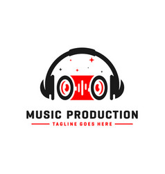 music logo and headset vector image