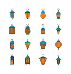 Old ramadan islamic lanterns arabic lamps vector