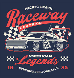 Old vintage racing car shirt design vector