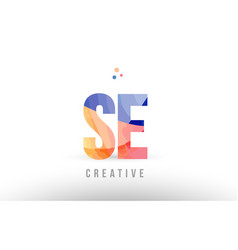 Orange blue alphabet letter se s e logo icon vector