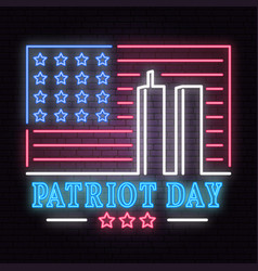Patriot day neon sign we will never forget vector