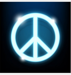 peace day logo blue neon light vector image