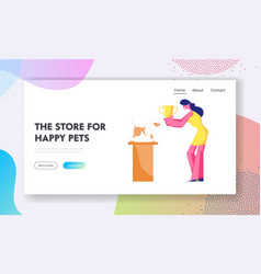 Pet competition website landing page poodle stand vector