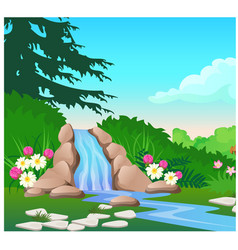 Picturesque landscape with a waterfall on the vector
