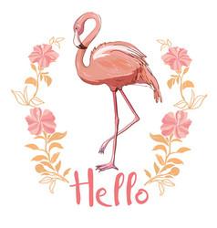 pink flamingo isolated on white background vector image