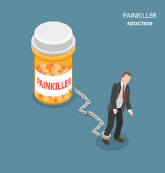 Pinkiller addiction flat isometric concept vector
