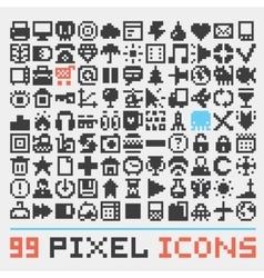 Pixel art web icons set vector image