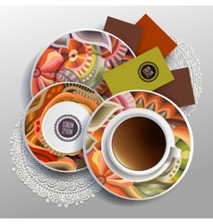 Plates and cup coffee vector