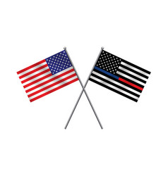Police and firefighter american flags vector