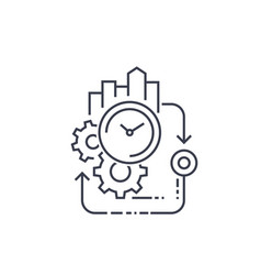 Production cycle efficiency line icon vector