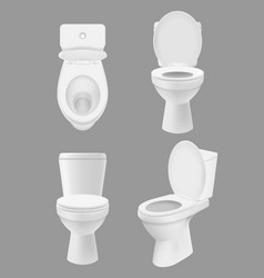 realistic clean toilet white bowls in bathroom or vector image