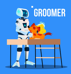 robot groomer assistant washing pet dog with vector image