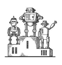 robots on sport pedestal engraving vector image