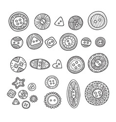 set cloth buttons in different boho style vector image
