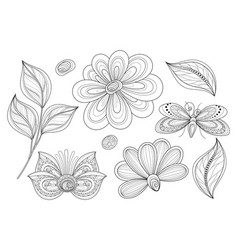 Set of beautiful monochrome floral design vector