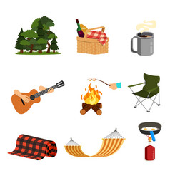 set picknic party barbecue grill vector image