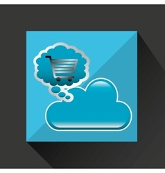 Shiny shopping cart cloud online commerce vector