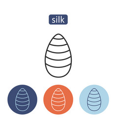 Silk material outline icons set vector