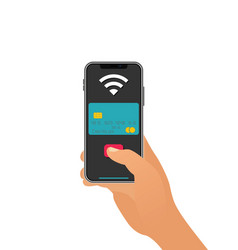 Smartphone paying wireless over pos terminal vector