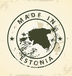 Stamp with map of Estonia vector image