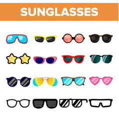 sunglasses icon set summer beach vector image
