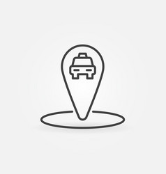 taxi map pointer or pin concept linear icon vector image