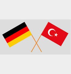 The crossed turkey and germany flags vector