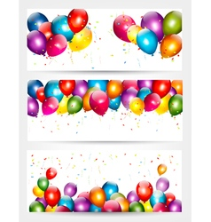 Three holiday birthday banners with balloons vector image