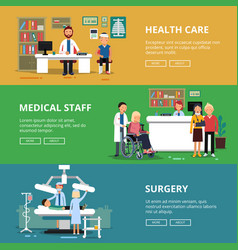 Three horizontal banners of healthcare vector