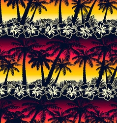 Tropical palm tree at sunset with hibiscus flowers vector image