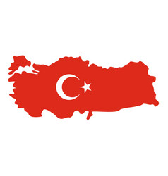 Turkey map in national flag colors icon isolated vector