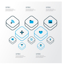 User icons colored set with feed filter folder vector