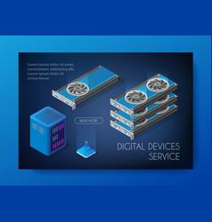 Videocard set of mining bitcoin vector