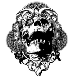 wicked skull shield illustration vector image