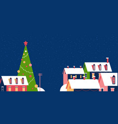 winter houses with snow on roofs snowy village vector image