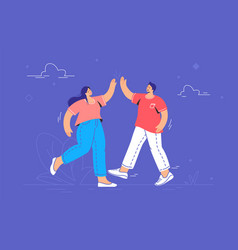 Young couple giving a high-five vector