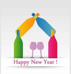 Colorful happy new year card vector image