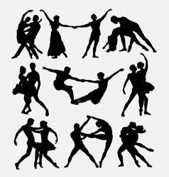 Couple ballet dancing silhouette vector image vector image