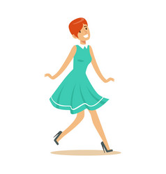 Girl in blue dress overwhelmed with happiness and vector