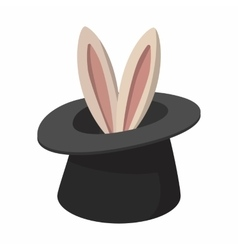 Rabbit appearing from a top magic hat cartoon vector image