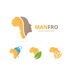 set of africa logo combination safari and people vector image vector image