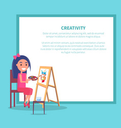 creativity poster with girl drawing vase vector image vector image