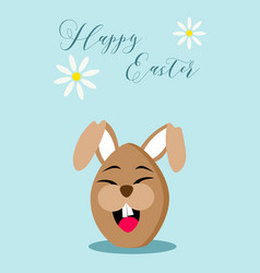 happy easter chocolate egg rabbit greeting card vector image vector image