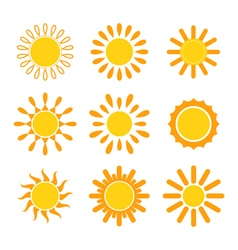 Set of suns Sun icons vector image vector image
