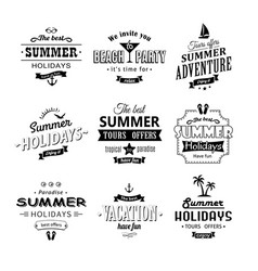beach retro labels set on white vector image vector image