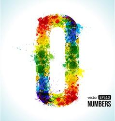 Color paint splashes gradient number 0 vector