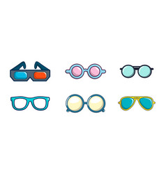 glasses icon set cartoon style vector image