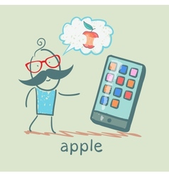 man looking at mobile and thinks the apple vector image vector image