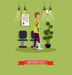 man with broken leg in flat vector image vector image