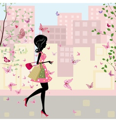 spring shopping vector image vector image